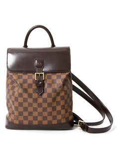 Louis Vuitton Soho Damier Canvas Maroon Leather Backpack secondhand  authentic safe online shopping webshop LabelLOV Antwerp Belgium fashion  luxury designers ... 73075b4af4230