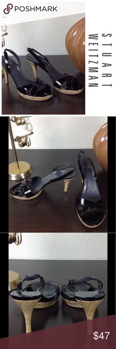 STUART WEITZMAN Patent Leather Cork Platform Heels Authentic Stuart Weitzman black patent leather sandals with cork platform and heels. Excellent condition with no visible scratches or signs of wear. Stuart Weitzman Shoes Heels