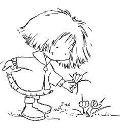 Lili plockar blommor