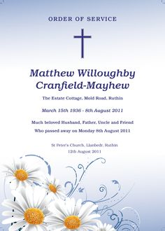 Funeral Order of Service Template - Funeral Stationery Funeral Order Of Service, Front Cover Designs, St Peter's Church, Memorial Cards, Online Templates, Stationary, Daisy, How To Memorize Things, Frames