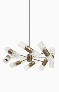 Anonymous; Brass and Glass Ceiling Light, 1960s. Via Studio Schalling.