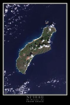 Niihau Island Hawaii Satellite Poster Map