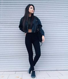 Pinterest: @barbphythian || every day look | ootd all black | edgy, bomber jacket