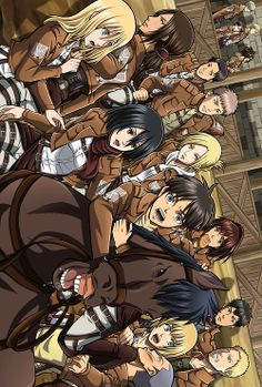 "Attack on Titan ~~ Working in the stables is ""fun""? :: Look at Marco. What's up with that smirk?! <<<< Why is Eren hugging Jean? Oh wait.."