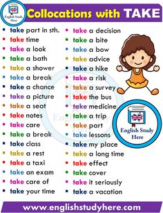 English Collocations with TAKE - English Study Here Learn English Speaking, Learning English For Kids, Learn English Grammar, English Writing Skills, English Vocabulary Words, Learn English Words, English Language Learning, English Lessons For Kids, English Verbs