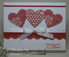"""Stamping From The Heart: Valentines The hearts were from two Stampin' Up sets--""""Punched Potpourri"""" and """"Filled with Love"""" by lauren"""