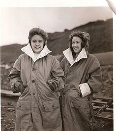 Two unknown  USO entertainers at Dutch Harbor, WWII. USO Camp Shows, Inc. - Alaska | Flickr.com - alexaleutians