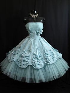 Vintage 1950s 50s STRAPLESS Will Steinman Bombshell Turquoise Blue Taffeta Tulle Lace Party Prom WEDDING Dress Gown. $599.99, via Etsy.