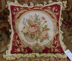 14-Chic-Shabby-Burgandy-White-VTG-Needlepoint-Pillow-Cover-Whole-Petit-Point