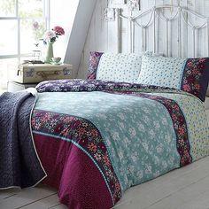 At home with Ashley Thomas Aqua bouquet print bedding set- at Debenhams.com
