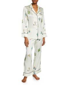 OLIVIA VON HALLE-tops-LILA MINELLI CACTUS-PRINT CLASSIC SILK PAJAMA SET. #olivia-von-halle #tops Olivia Von Halle, Silk Pajamas, Cactus Print, Silk Charmeuse, Mother Of Pearl Buttons, Pj Sets, Lounge Pants, Pajama Set, Jumpsuit