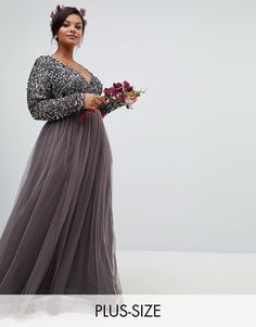 Buy Maya Plus long sleeve wrap front maxi dress with delicate sequin and tulle skirt in charcoal at ASOS. With free delivery and return options (Ts&Cs apply), online shopping has never been so easy. Get the latest trends with ASOS now. Plus Size Wedding Gowns, Plus Size Dresses, Nice Dresses, Dresses With Sleeves, Maya, Asos, Long Sleeve Gown, Bohemian Skirt, Bridesmaids