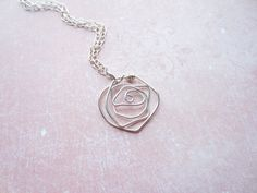 Silver Wire Rose Necklace Flower Necklace Floral by DesignByThyll, $47.00