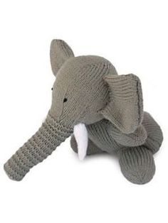 Free knitting pattern for Elephant toy softie and more wild animal knitting…