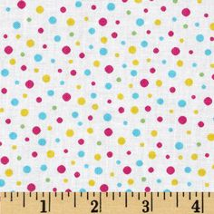 LuLu Dots Pink/Blue from @fabricdotcom  Designed by Sparky and Marie for Quilting Treasures, this cotton print is perfect for quilting, apparel and home decor accents.  Colors include off white, pink, yellow, green and aqua.