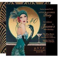 Gatsby Art Deco Birthday Party Invitations - birthday diy gift present custom ideas 40th Birthday Invitations, 40th Birthday Parties, Birthday Gifts, 23rd Birthday, Birthday Diy, Invites, Birthday Cards, Wedding Invitations, Gatsby Theme