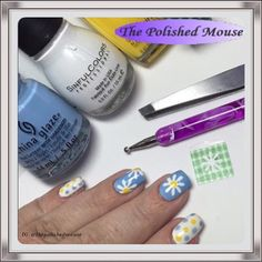 ✂️DIY Daisy Vinyls✂️  Polishes Used: @ChinaGlazeofficial – Don't Be Shallow (sky blue); @WetNWildbeauty – D'Oh (yellow); @SinfulColorsofficial - Snow Me White (white); @Sechenails - Dry Fast Top Coat (Seche Vite) to finish.  Tools Used: Polishes – listed above ; DIY Nail Vinyls; Dotting Tool.