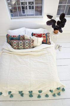 pom pom blanket handmade from wool