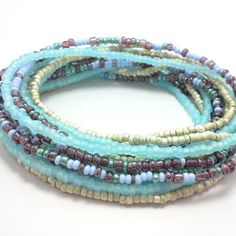 Seed bead wrap stretch bracelets, stacking, beaded, boho anklet, bohemian, stretchy stackable multi strand, light blue purple white ivory