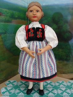 """Vintage Swiss Doll All Wood Jointed Hand Painted Quality Costume 11"""" Tall   eBay"""