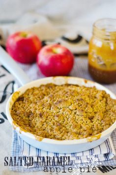 Salted Caramel Apple Pie with Brown Sugar Crumble  This, with rhubarb instead.