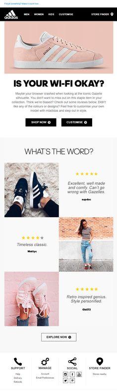 Adidas (16.04.2018): Feedback from your customers is the best way to return your subscribers to their abandoned carts. // Чтобы вернуть подписчика к брошенной корзине, покажите ему отзывы довольных покупателей. #EmailMarketing #EMAILMATRIX #feedback