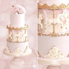 Carousel cake #carousel #pink #horses #cake #cherrycakeco Carousel Cake, Carousel Party, Carousel Birthday Parties, First Birthday Cakes, Baby Shower Sweets, Baby Shower Cakes, Fondant Cakes, Cupcake Cakes, Fondant Baby