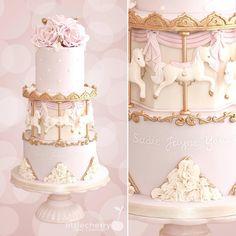 Carousel cake #carousel #pink #horses #cake #cherrycakeco Carousel Birthday Parties, Birthday Cake Girls, First Birthday Cakes, Baby Shower Sweets, Baby Girl Shower Themes, Baby Shower Cakes, Ballet Cakes, Carousel Cake, Horse Cake