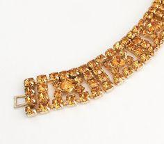 Vintage Signed KRAMER Orange Topaz & Gold Tone Rhinestone Art Deco Bracelet.
