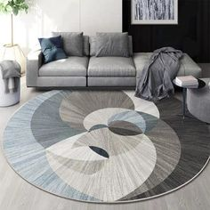 Nordic Geometric Round Carpets For Living Room Rug Big Size Decoration Office Hotel Home Carpet INS Popular Bedroom Floor Mat, Big Living Rooms, Rugs In Living Room, Hotel Carpet, Rugs On Carpet, Bedroom Carpet, Living Room Carpet, Patterned Carpet, Bedroom Flooring, Round Rugs
