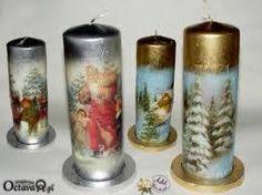 Resultado de imagen de galeria decoupage Henna Candles, Gel Candles, Christmas Candles, Christmas Crafts, Christmas Ornaments, Candle In The Dark, Christmas Decoupage, Candle Art, Candle Making