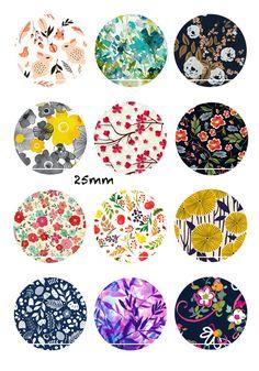 Jardin d'hiver fleuri 12 Images/Dessins/collages/Scrapbooking digitales pour cabochon 30/25/20/18/16/15/14/12/10/8 mm Rond/Carré/Ovale