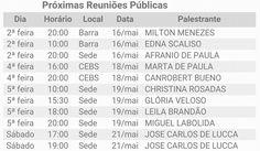 Calendário de Palestras Públicas do CEMA – Centro Espírita Maria Angélica - Recreio dos Bandeirantes - RJ - http://www.agendaespiritabrasil.com.br/2016/05/17/calendario-de-palestras-publicas-do-cema-centro-espirita-maria-angelica-recreio-dos-bandeirantes-rj/