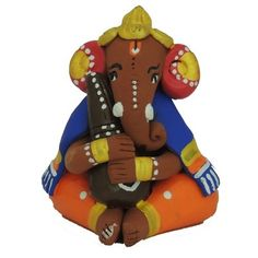 Ganesha Idol Statue Playing Veena By Terracotta God Idols & Statues on Shimply.com