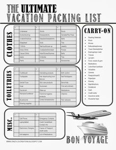 THE Ultimate Vacation Packing List #freeprintable #vacationpacking