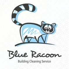 Blue raccoon - Logo for a Building Cleaning Service or another Company, which fits to a raccoon. Brandname, tagline and colours can be added for free.