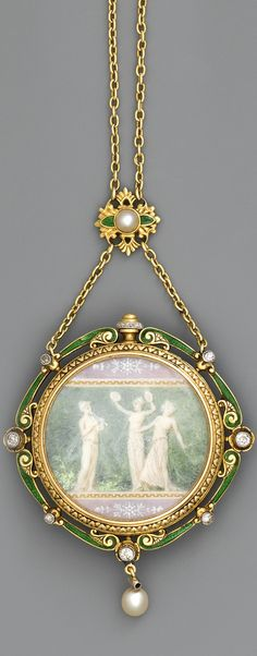 "Tiffany & Co., Paris, pendant watch, ca. 1900 --  18K yellow gold, enamel, diamonds and pearls, round case, surrounded by a scalloped pattern of translucent enamel on ramolayé green background, set with diamonds, pink; under a bezel engraved intaglio of a frieze, a neoclassical miniature painted on ivory signed by ""F.Paillet"" showing two musicians and a Greek dancer."