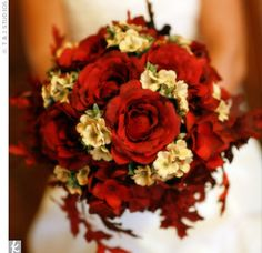 Bridal Bouquet: roses, maple leaves