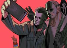 Halloween, Friday the Michael Myers, Jason Voorhees, Horror Characters, Fu. Horror Movie T Shirts, Funny Horror, Horror Movie Characters, Horror Movies, Jason Voorhees, Arte Horror, Horror Art, Michael Myers And Jason, Slasher Movies