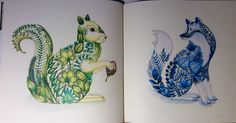 Squirrel and fox pages, Enchanted Forest, Johanna Basford.  cathyc.  pencil crayons.