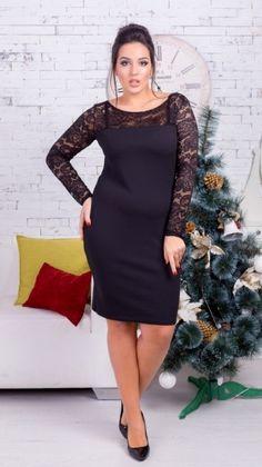 ea0600e94f7 Яркое женское платье большого размера с гипюровыми рукавами черное