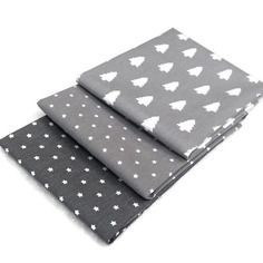 Lot 3 coupons 50x50 mini sapins gris , mini stars gris clair , mini stars gris anthracite