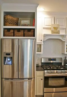 As you can see, it isn't too hard to fit cabinets around the refrigerator in an efficient way! More decor and other interesting ideas at hackthehut.com