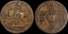 James II. 1685-1691. Æ gunmoney crown. 14.50 gm. 33 mm. Civil War Coinage. Dated 1690. King on horseback left, legend starting to left of head / Cruciform crowned coats of arms around large central crown, date across field. D&F 366. S. 6578. Very Fine; well struck horse and rider. Overstruck on large size 1689 halfcrown.
