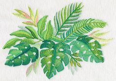Tropical Leaves in Watercolor 1 design (M4039) from www.Emblibrary.com