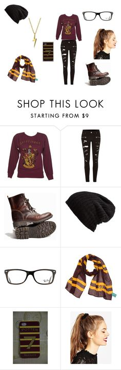 """""""Gryffindor style"""" by jade-malfoy-r7 ❤ liked on Polyvore featuring River Island, Free People, Ray-Ban, ASOS and Bling Jewelry"""