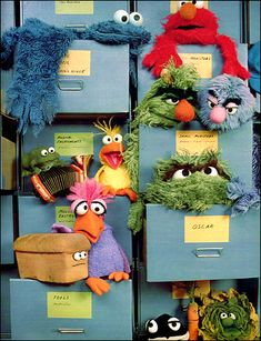 A filing cabinet in Jim Henson's Muppet Workshop, circa Elmo, Sesame Street Muppets, Sesame Street Characters, Doug Funnie, The Muppet Show, The Muppets, Fraggle Rock, Puppet Making, Miss Piggy