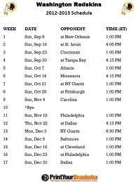 Printable Washington Redskins