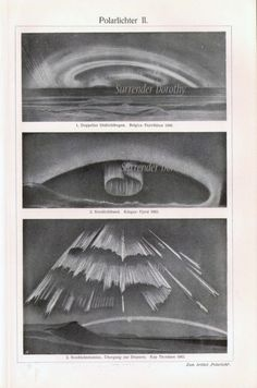 Northern Lights Aurora Borealis 1907 Edwardian Antique Astronomy Engraving From Germany