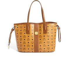 Women's Mcm 'Large Liz' Reversible Shopper ($665) ❤ liked on Polyvore featuring bags, handbags, tote bags, beige tote bag, structured handbags, shopping tote bags, structured purse and structured tote